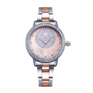 Horloge zilver-rosé goud met strass steentjes