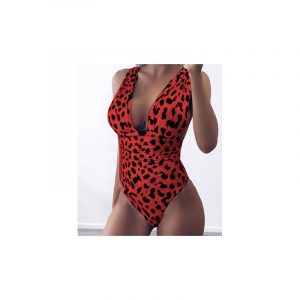 Swimsuit red with leopard print