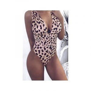 Swimsuit pink with leopard print