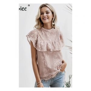 Pink lace top with ruffles