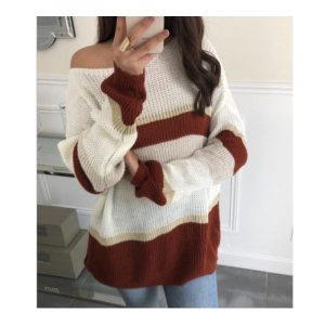 Sweater colored block striped red